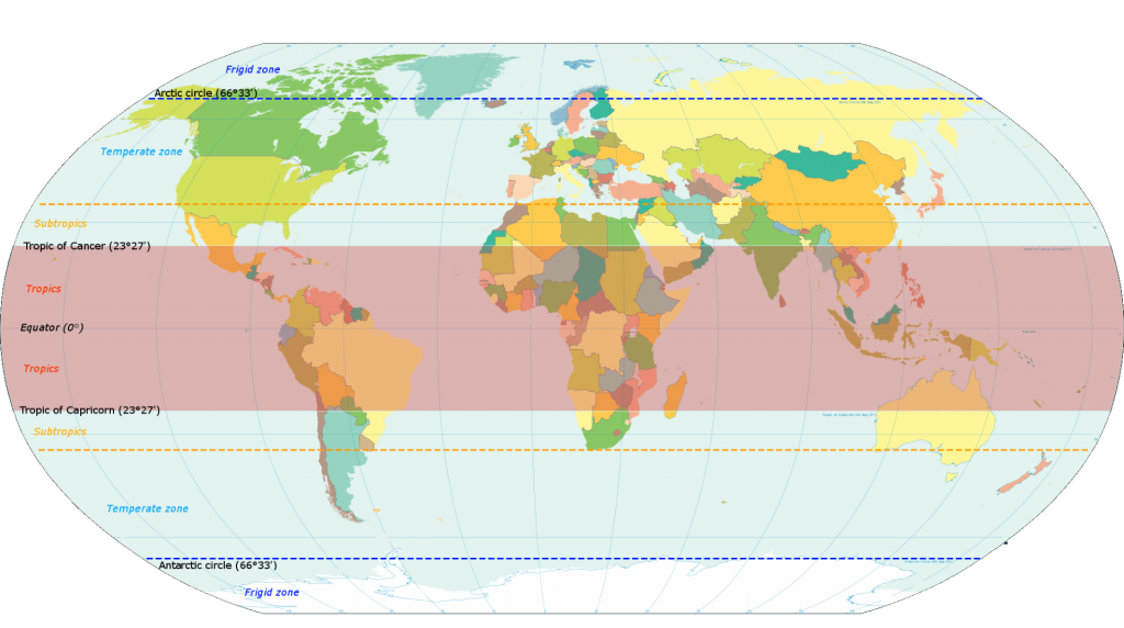 World map shows the zone of tropical countries
